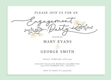 Engagement Party Invitation Card Template Vector Illustration. Inviting Stylish Design In Frame With Floral Elements And Place For Text. Wedding Concept