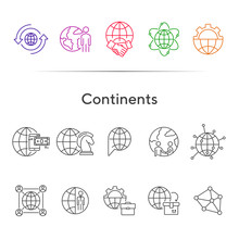 Continents Line Icon Set
