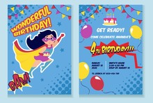 Birthday Party Invitation Card With Cute Girl Vector Illustration. Birth Inviting Template With Funny Kid In Superhero Costume, Air Balloons And Holiday Cake