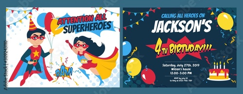 Fototapeta Birthday party invitation card with cute girl and boy heroes vector illustration. Festive inviting template with superheroes, balloons and holiday cake. Kids birth concept obraz