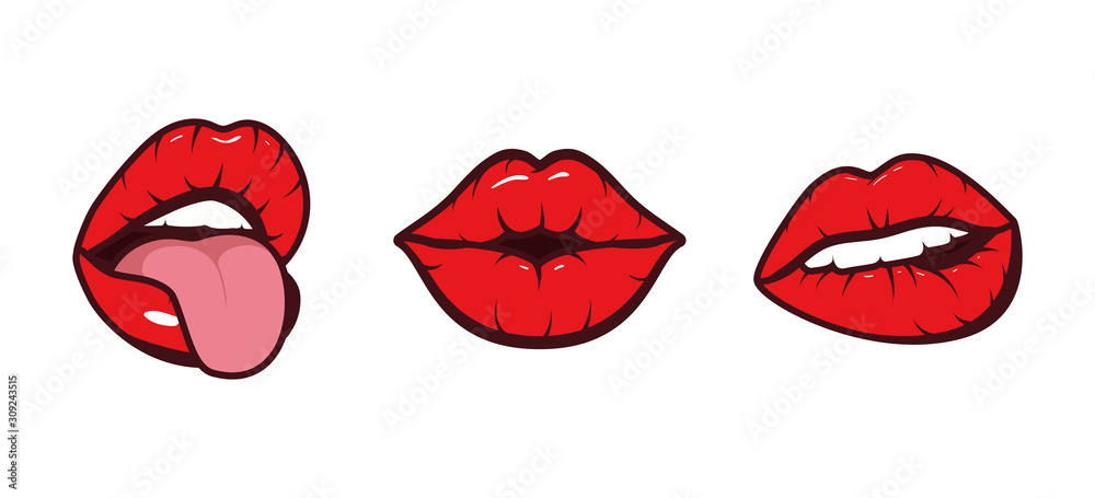 Fototapeta Isolated mouth cartoon set vector design