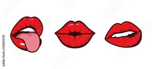 Obraz Isolated mouth cartoon set vector design - fototapety do salonu