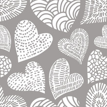 Romantic Seamless Pattern With Cute Images Of Hearts With Hand Drawn Texture. The Style Of Children's Drawing.