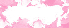 Pink Vintage Dry Watercolor Background. Border Texture, Abstract Paper Illustration