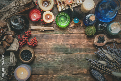 Obraz na płótnie Magic potion on the wizard flat lay table background with copy space
