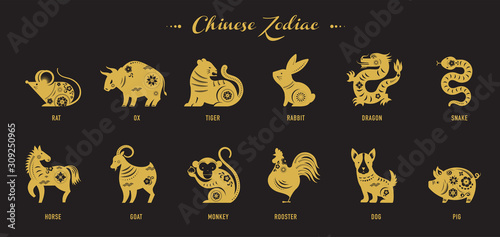 Fotomural Chinese new year, zodiac signs, papercut icons and symbols