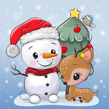 Cartoon Deer And Snowman Near The Christmas Tree