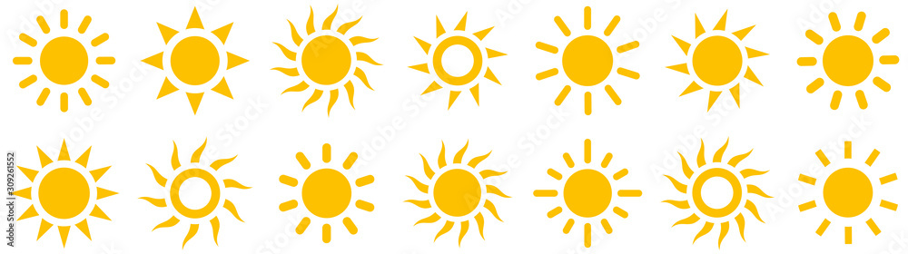 Fototapeta Sun simple icons collection. Vector illustration