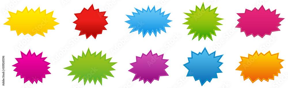 Fototapeta Starburst coloured speech bubbles collection. Vector