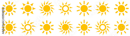 Fototapeta Sun simple icons collection. Vector illustration obraz