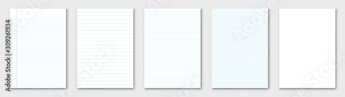 Blank sheet of paper. Lined paper set. Vector Fototapet