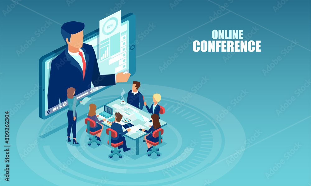 Fototapeta Vector of business people meeting in a office having conference call with a presenter.