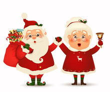 Mrs. Claus Together. Vector Cartoon Character Of Happy Santa Claus And His Wife Isolated. Christmas Family Celebrate Winter Holidays. Cute Santa Claus With Mrs. Claus Waving Hands And Greeting.