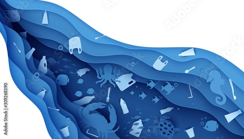 Stop ocean plastic pollution banner design template in paper cut style Wallpaper Mural