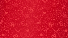 Vector Red Background With Hand Drawn Hearts And Flowers. Can Be Used For Poster, Greeting Card And Invitations.