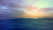 Dramatic dusk over the Aegean sea with beautiful colours and clouds as seen from cruising yacht in Cyclades isalands, Greece