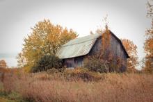 Abandoned Barn Against Grey Au...