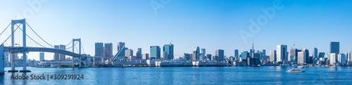 (東京都-風景パノラマ)レインボーブリッジと東京湾岸風景1