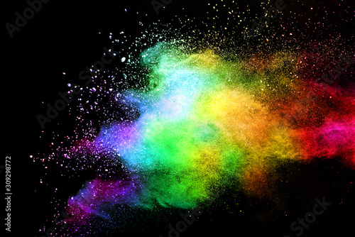 Explosion of colored powder isolated on black background. Abstract colored background. holi festival. - 309298772