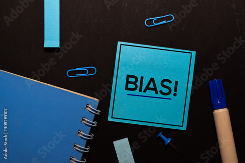 Bias! write on sticky notes isolated on office desk Canvas Print