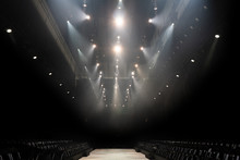 Performance Moving Lighting Luminous Rays On Construction Rack Light Beam Ray Downward In White Red Color, On Concert And Fashion Show Stage Ramp, Intention Add Grain Noise