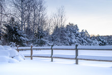 Countryside Snow Covered Fence...
