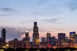 Beautiful Chicago skyline at sunset