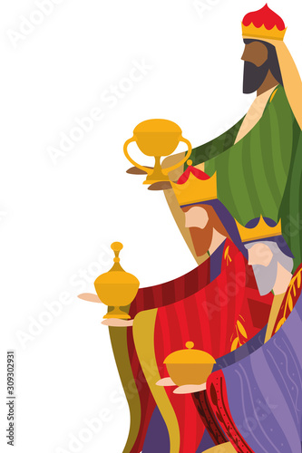 Photo Three wise men of happy epiphany day vector design
