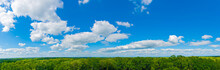 Sibley State Park  Mount Tom Trail Blue Sky Panorama With Clouds Over Tops Of Green Trees