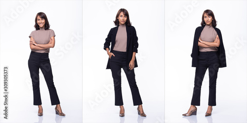 Obraz Collage Group Pack of Fashion Young mother 30s indian / Asian Woman black curl short hair beautiful make up purple dress posing attractive many looks smile. Studio Lighting white Background isolated - fototapety do salonu