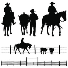 A Vector Silhouettes Of A Working Ranch Cowboy And His Horse.