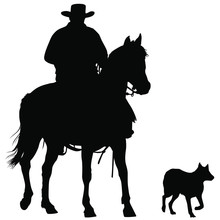 A Vector Silhouette Of A Working Ranch Cowboy On A Horse With His Dog.