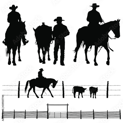 A vector silhouettes of a working ranch cowboy and his horse. Wallpaper Mural