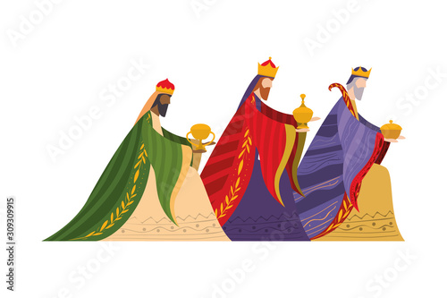 Stampa su Tela Three wise men of happy epiphany day vector design