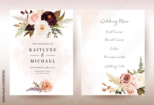 фотография Moody boho chic wedding vector bouquet cards