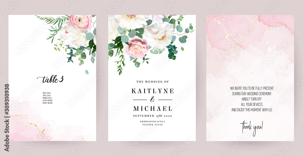 Fototapeta Elegant wedding cards with pink watercolor texture and spring flowers