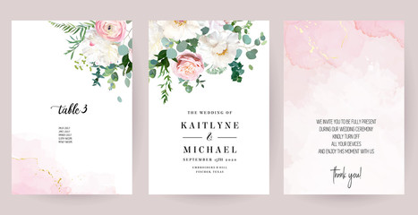 Elegant wedding cards with pink watercolor texture and spring flowers