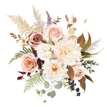Moody Boho Chic Wedding Vector Bouquet