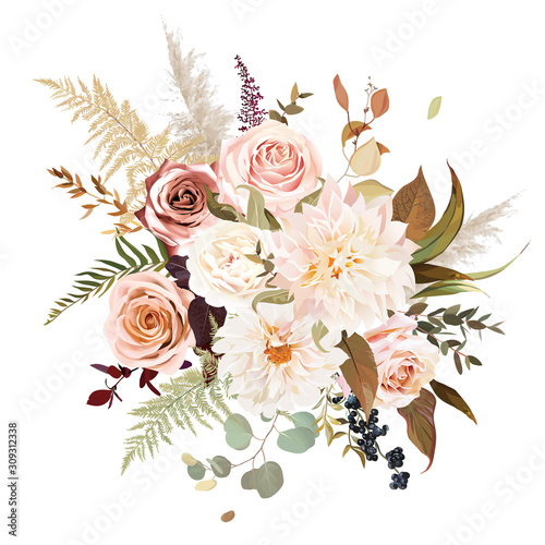 Moody boho chic wedding vector bouquet Canvas Print