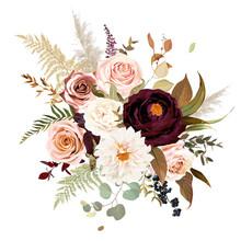 Moody Boho Chic Wedding Vector Bouquet