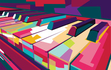 Vektor Piano Pop Art Warna-war...