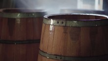 Wooden Barrels Being Soaked Wi...