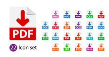 Collection Of Vector Icons. Sign Download. File Format Extensions Icons. PDF, MP3, TXT, DOC, DOCx, ZIP PPTx XLSx JPG PSD Fb2 AVI