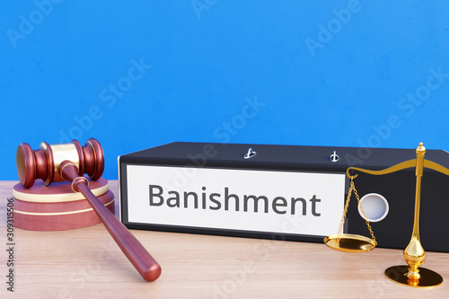 Photo Banishment – Folder with labeling, gavel and libra – law, judgement, lawyer