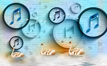 3d Mural Wallpaper With Circles And Rings Musical Signs On Bricks Wall Background .  Golden Swan In Water, Birds And Flower