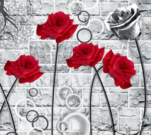 3d Mural Wallpaper Red Flowers And Circles In Black And White Wall Bricks .