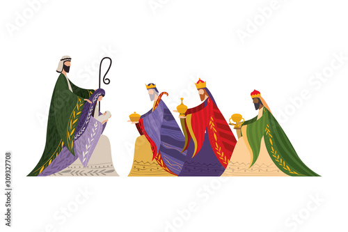 Canvas-taulu Three wise men of happy epiphany day vector design