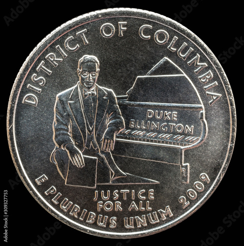 Photo Coin 25 US cents. States and territories. Columbia region