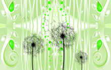 3d Modern Mural Wallpaper And Silhouettes Of Dandelions . White Background With Leaf And Flowers