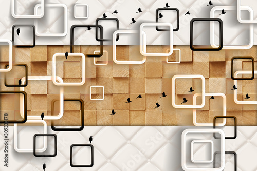 Obrazy do jadalni  3d-mural-simple-modern-wallpaper-squares-and-wooden-square-cubes-with-birds-in-white-backg